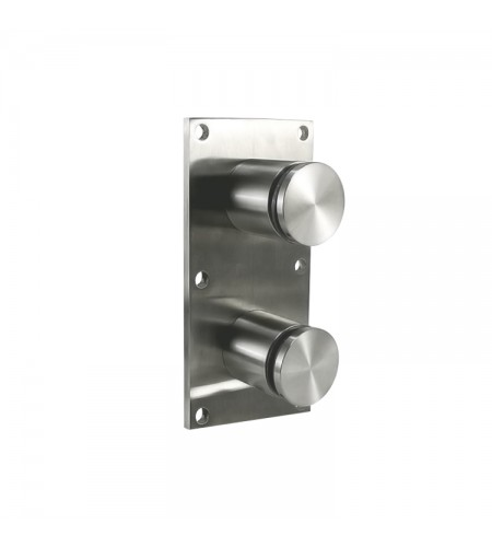 Heavy duty glass rail standoff fitting with mounting plate
