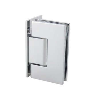 90° Glass-to-Glass Hinge. Offset back plate hinge